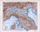 Farbige Illustration einer Landkarte aus 1885 der Nordhälfte Italiens. Maßstab 1 zu 2.500.000.
