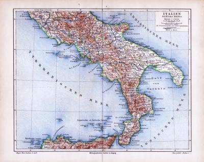 Farbig illustrierte Landkarte der Südlichen Hälfte Italiens von 1885. Maßstab 1 zu 2.500.000.