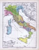 Farbige Illustration von 1885 zeigt eine historisch...