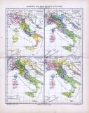 4 farbig illustrierte Landkarten zur Geschichte Italiens aus 1885.