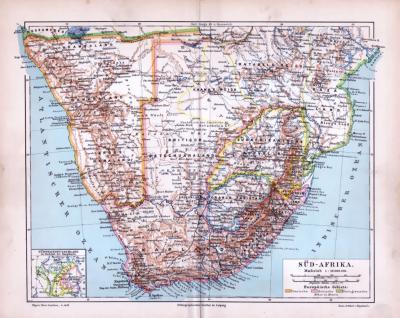 Farbig illustrierte Landkarte von Südafrika und den Kapkolonien aus 1885. Maßstab 1 zu 10.000.000.
