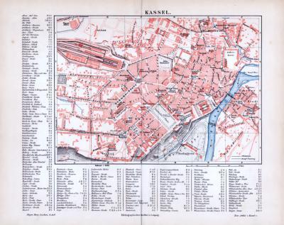 Farbig illustrierter Stadtplan von Kassel aus 1885 im Maßstab 1 : 9.000 inklusive Straßenverzeichnis.