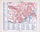 Farbig illustrierter Stadtplan von Kassel aus 1885 im...