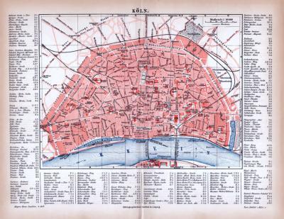 Farbig illustrierter Stadtplan von Köln aus 1885. Im Maßstab 1 zu 16.600 mit Straßenverzeichnis