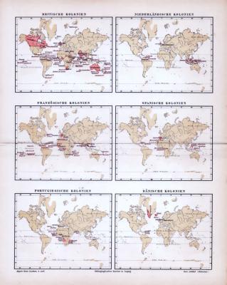 Illustration von 6 Weltkarten aus 1885, zeigt Kolonialgebiete europäischer Länder.