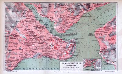 Farbig illustrierter Stadtplan von Konstantinopel aus 1885. Im Maßstab 1 zu 25.000.