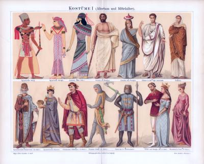 Chromolithographie aus 1885 zeigt verschiedene Arten von Kostümen aus Altertum und Mittelalter.