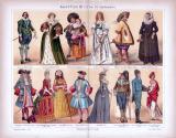 Chromolithographie aus 1885 zeigt verschiedene Arten von Kostümen aus 17. bis 19. Jahrhundert.