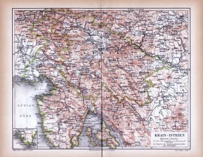 Farbig illustrierte Landkarte des Krain Küstenlandes aus 1885 im Maßstab 1 zu 850.000.