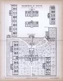 Stich aus 1885 zeigt den architektonischen Aufbau des Krankenhauses von Stettin.