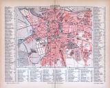 Farbig illustrierter Stadtplan von Leipzig aus 1885. Im Maßstab 1 zu 20.000 mit Straßenverzeichnis