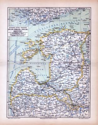 Farbig illustrierte Landkarten zur des Baltikums aus 1885 im Maßstab 1 zu 2.250.000.