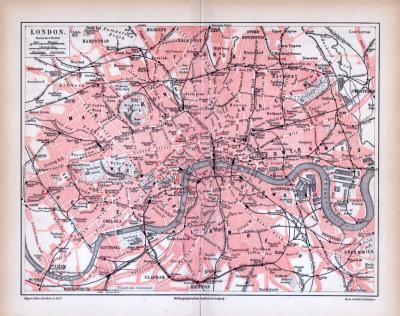 Farbig illustrierter Stadtplan von London aus 1885. Im Maßstab 1 zu 60.000.