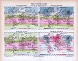 4 farbig illustrierte Weltkarten aus 1885 zeigen jahreszeitliche Temperaturverteilung.