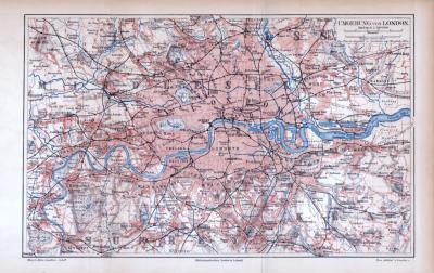 Farbig illustrierter Stadtplan von London und Umgebung aus 1885. Im Maßstab 1 zu 100.000.