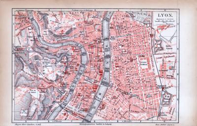 Farbig illustrierter Stadtplan von Lyon aus 1885. Im Maßstab 1 zu 20.000.