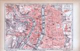 Farbig illustrierter Stadtplan von Lyon aus 1885. Im...