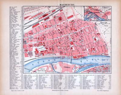 Farbig illustrierter Stadtplan von Magdeburg aus 1885. Im Maßstab 1 zu 10.000.