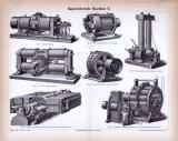 Stich aus 1885 zeigt 7 Abbildungen von magnetelektrischen...