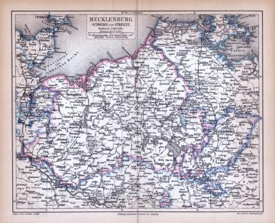 Farbig illustrierte Landkarte von Mecklenburg aus 1885 im Maßstab 1 : 850.000.