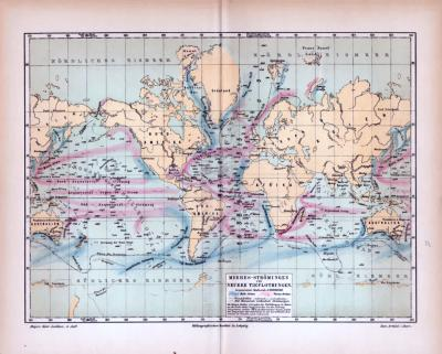 Farbig illustrierte Weltkarte aus 1885 zeigt Meeresströmungen und Meerestiefen im Maßstab 1 : 100.000.000.