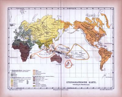 Farbig illustrierte Weltkarte aus 1885 zeigt die ethnologische Verbreitung der Menschen.
