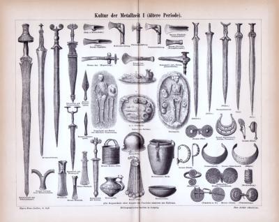 Stich aus 1885 zeigt Waffen und Kulturobjekte aus der älteren Periode der Metallzeit.
