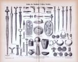 Stich aus 1885 zeigt Waffen und Kulturobjekte aus der...