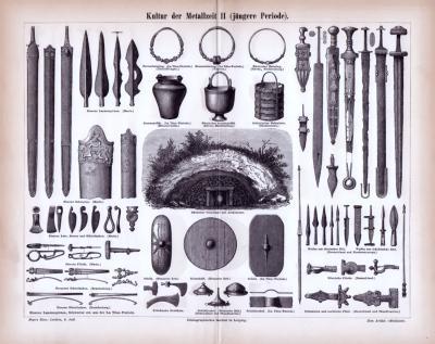 Stich aus 1885 zeigt Waffen und Kulturobjekte aus der jüngeren Periode der Metallzeit.