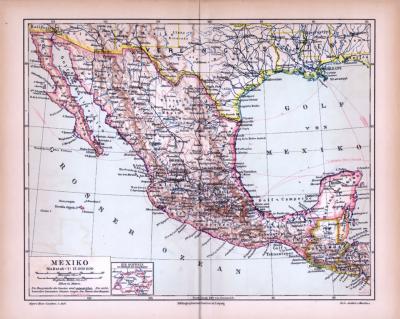Farbig illustrierte Landkarte von Mexiko aus 1885 im Maßstab 1 : 12.000.000.