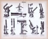 Technische Abhandlung mit Stichen aus 1885 zum Thema Mikroskope.