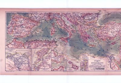 Farbig illustrierte Landkarte von Anrainerstaaten des Mittelmeerraumes aus 1885 im Maßstab 1 : 10.000.000.