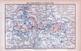 Farbige Illustration aus 1885 einer Militärkarte der Schlachten um Metz im Jahr 1870.