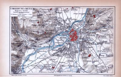 Farbige Lithographie aus 1885 zeigt den Stadtplan und eine Umgebungskarte von Metz.