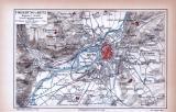 Farbige Lithographie aus 1885 zeigt den Stadtplan und...