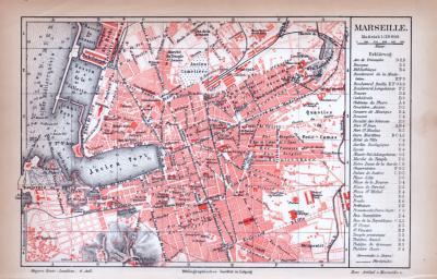 Farbig illustrierter Stadtplan von Marseille aus 1885. Im Maßstab 1 zu 24.000.