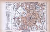 Farbig illustrierter Stadtplan von Mailand aus 1885. Im Maßstab 1 zu 19.000.
