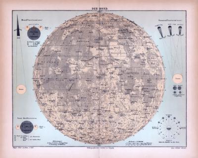 Farbig illustrierte Landkarte des Mondes aus 1885 nach Beer und Mädler.