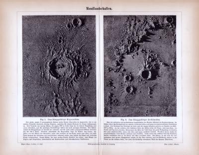 Stich aus 1885 zeigt 2 Ansichten der Mondoberfläche.