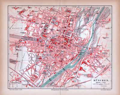 Farbig illustrierter Stadtplan von München aus 1885 im Maßstab von 1 zu 20.000.