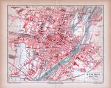 Farbig illustrierter Stadtplan von München aus 1885 im...