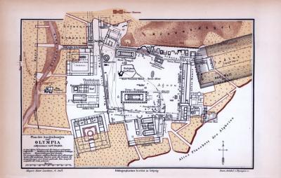 Farbig illustrierte Karte der archäologischen Ausgrabungen in Olympia aus dem Jahr 1885.