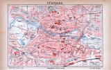 Farbig illustrierter Stadplan von Nürnberg aus dem Jahr 1885 im Maßstab 1 zu 12.500.