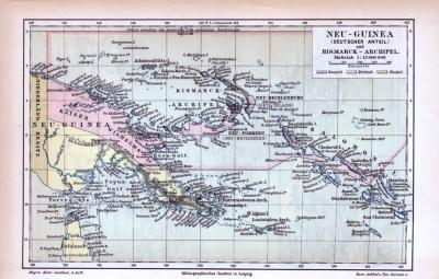Farbig illustrierte Landkarten aus 1855 der Deutschen Kolonien und Neuseelands.
