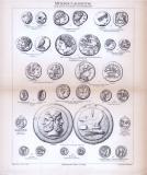 Stich aus 1885 zeigt verschiedene Münzen aus dem Altertum.