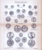 Münzen I. Altertum + Münzen II. 5. bis 17. Jahrhundert ca. 1885 Original der Zeit