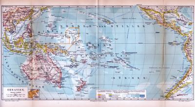 Farbig illustrierte Landkarte von Ozeanien aus 1885.