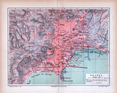 Farbig illustrierter Stadtplan und Landkarte aus 1885 zeigen die Umgebung von Neapel.