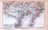 Neapel Stadtplan & Neapel Umgebung ca. 1885 Original der Zeit