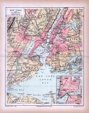 Stadtplan von New York und Umgebung aus 1885 in einer farbigen Illustration. Im Maßstab von 1 zu 200.000 mit Extrafenster des New York Südlicher Teil.